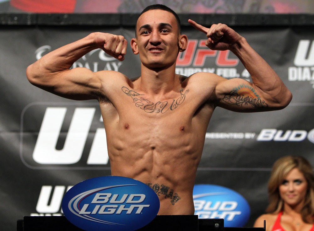 LAS VEGAS, NV - FEBRUARY 03:  Max Holloway weighs in during the UFC 143 official weigh in at Mandalay Bay Events Center on February 3, 2012 in Las Vegas, Nevada. (Photo by Josh Hedges/Zuffa LLC/Zuffa LLC via Getty Images) *** Local Caption *** Max Holloway