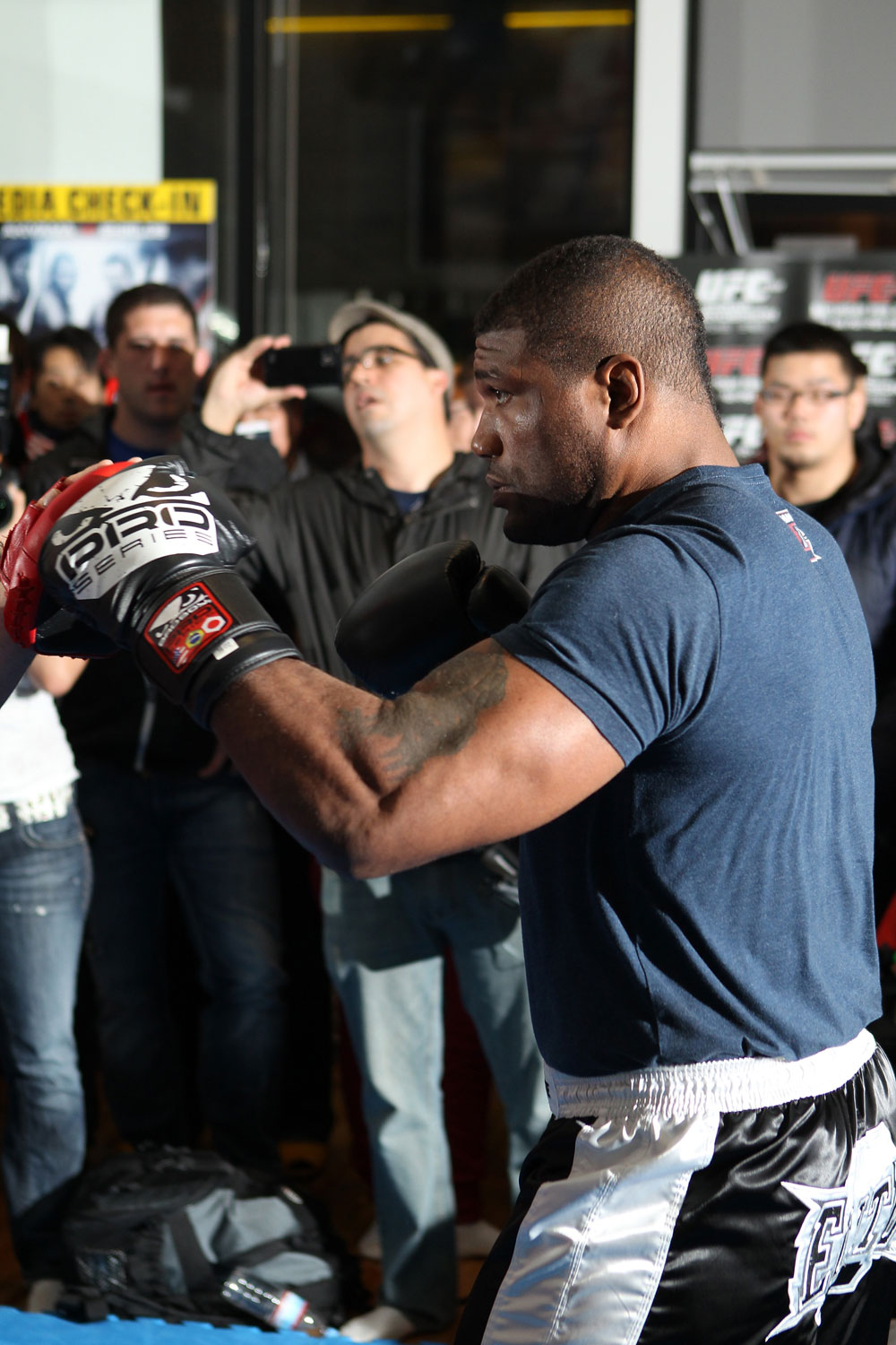 "TOKYO, JAPAN - FEBRUARY 22:  Quinton ""Rampage"" Jackson works out for the media during the UFC 144 open workouts at Gold's Gym on February 22, 2012 in Tokyo, Japan.  (Photo by Josh Hedges/Zuffa LLC/Zuffa LLC via Getty Images) *** Local Caption *** Quinton Jackson"