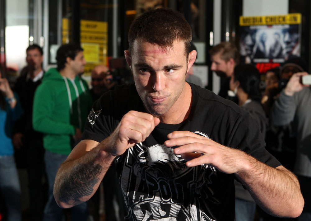 TOKYO, JAPAN - FEBRUARY 22:  Jake Shields works out for the media during the UFC 144 open workouts at Gold's Gym on February 22, 2012 in Tokyo, Japan.  (Photo by Josh Hedges/Zuffa LLC/Zuffa LLC via Getty Images) *** Local Caption *** Jake Shields