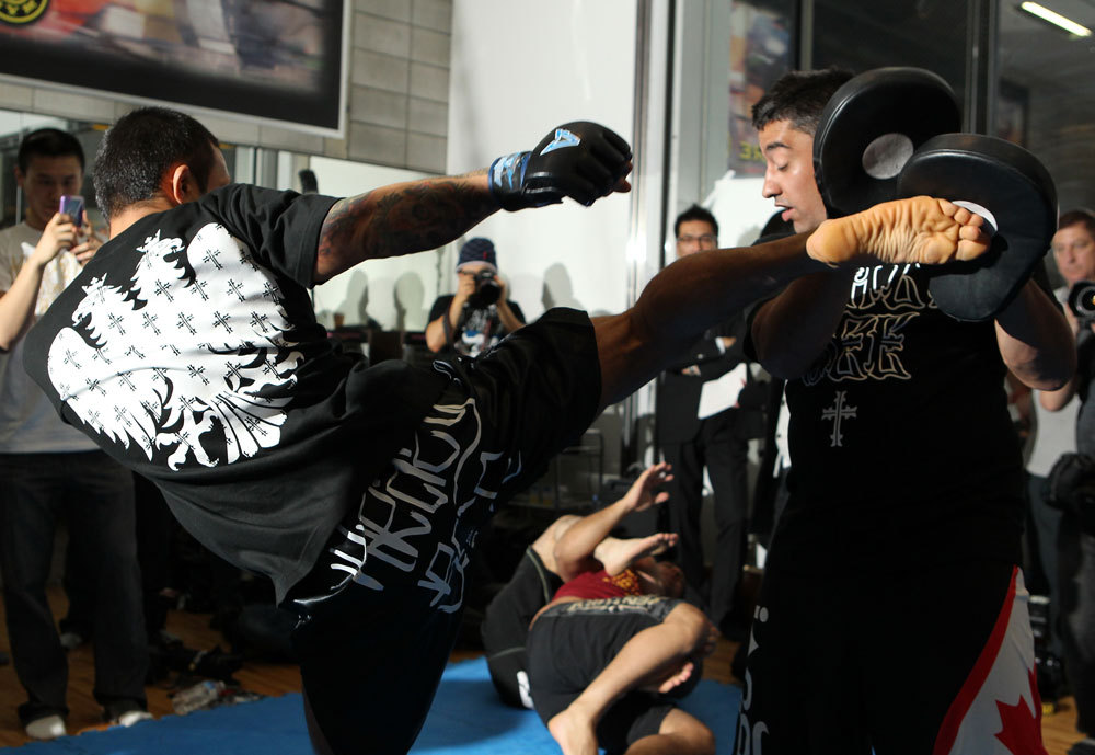 "TOKYO, JAPAN - FEBRUARY 22:  Norifumi ""Kid"" Yamamoto works out for the media during the UFC 144 open workouts at Gold's Gym on February 22, 2012 in Tokyo, Japan.  (Photo by Josh Hedges/Zuffa LLC/Zuffa LLC via Getty Images) *** Local Caption *** Norifumi Yamamoto"