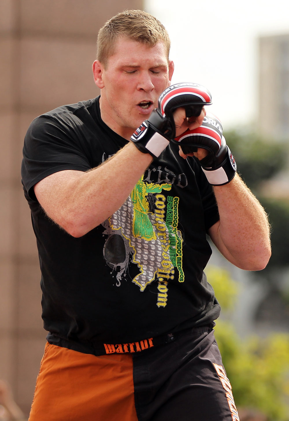 BELO HORIZONTE, BRAZIL - JUNE 20:   Mike Russow works out for the fans and media during the UFC 147 open workouts at Praca da Estacao on June 20, 2012 in Belo Horizonte, Brazil.  (Photo by Josh Hedges/Zuffa LLC/Zuffa LLC via Getty Images)