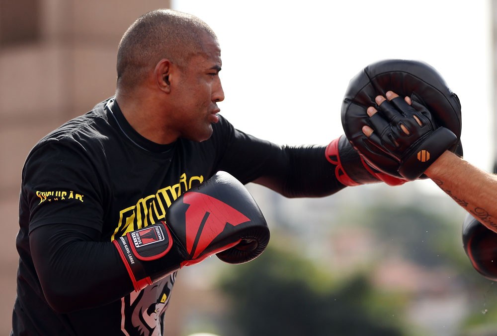 BELO HORIZONTE, BRAZIL - JUNE 20:   Sergio Moraes works out for the fans and media during the UFC 147 open workouts at Praca da Estacao on June 20, 2012 in Belo Horizonte, Brazil.  (Photo by Josh Hedges/Zuffa LLC/Zuffa LLC via Getty Images)