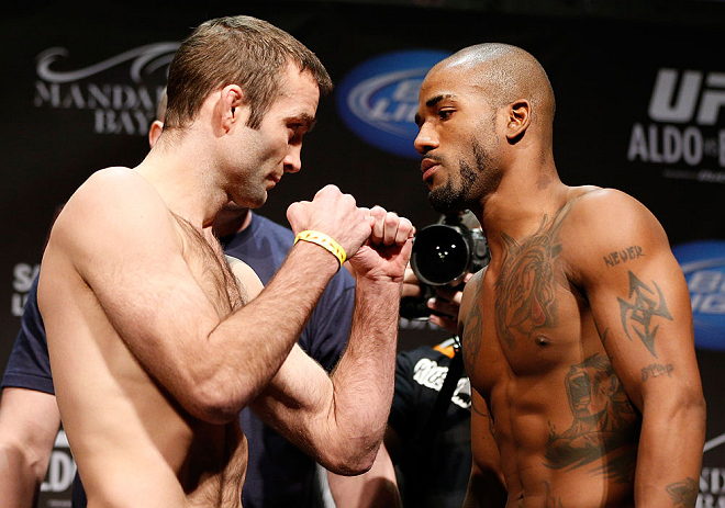 LAS VEGAS, NV - FEBRUARY 01:  (L-R) Opponents Jacob Volkmann and Bobby Green face off during the UFC 156 weigh-in on February 1, 2013 at Mandalay Bay Events Center in Las Vegas, Nevada.  (Photo by Josh Hedges/Zuffa LLC/Zuffa LLC via Getty Images)