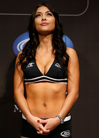 LAS VEGAS, NV - FEBRUARY 01:  UFC Octagon Girl Arianny Celeste stands on stage during the UFC 156 weigh-in on February 1, 2013 at Mandalay Bay Events Center in Las Vegas, Nevada.  (Photo by Josh Hedges/Zuffa LLC/Zuffa LLC via Getty Images)