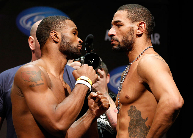 LAS VEGAS, NV - FEBRUARY 01:  (L-R) Opponents Tyron Woodley and Jay Hieron face off during the UFC 156 weigh-in on February 1, 2013 at Mandalay Bay Events Center in Las Vegas, Nevada.  (Photo by Josh Hedges/Zuffa LLC/Zuffa LLC via Getty Images)
