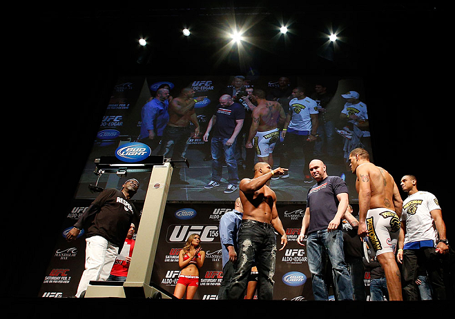 "LAS VEGAS, NV - FEBRUARY 01:  (L-R) Opponents Alistair Overeem and Antonio ""Bigfoot"" Silva face off during the UFC 156 weigh-in on February 1, 2013 at Mandalay Bay Events Center in Las Vegas, Nevada.  (Photo by Josh Hedges/Zuffa LLC/Zuffa LLC via Getty Images)"