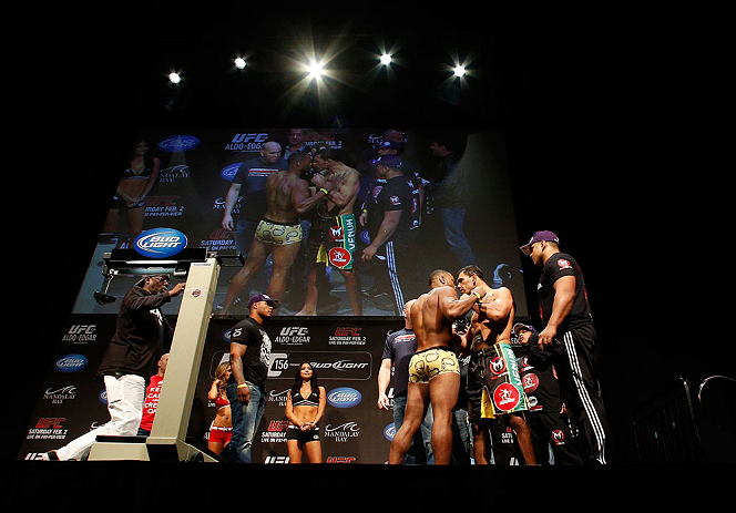 LAS VEGAS, NV - FEBRUARY 01:  (L-R) Opponents Rashad Evans and Antonio Rogerio Nogueira face off during the UFC 156 weigh-in on February 1, 2013 at Mandalay Bay Events Center in Las Vegas, Nevada.  (Photo by Josh Hedges/Zuffa LLC/Zuffa LLC via Getty Images)