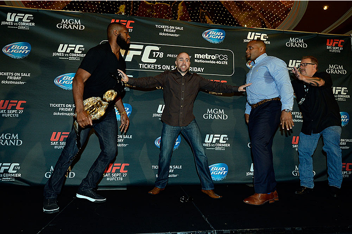 Jones (left) and Cormier at MGM melee in August