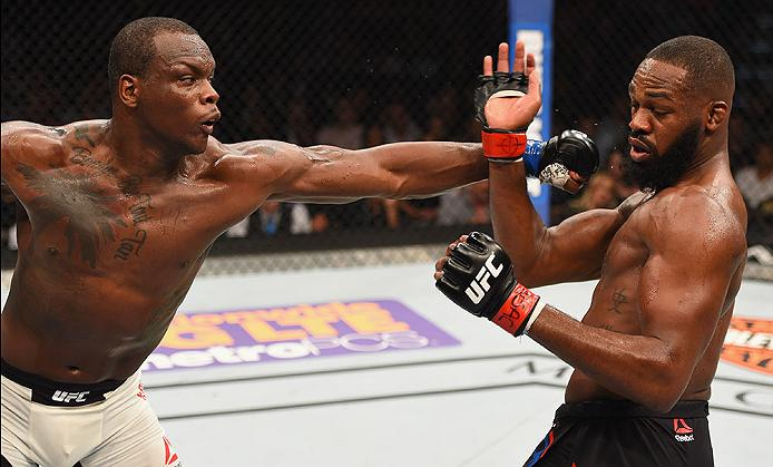 <a href='../fighter/Ovince-St-Preux'>Ovince Saint Preux</a> punches <a href='../fighter/Jon-Jones'>Jon Jones</a> during their light heavyweight bout at UFC 197