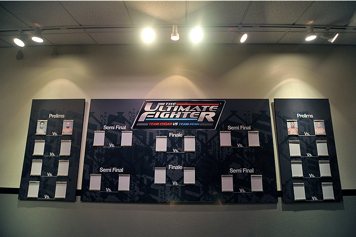 LAS VEGAS, NV - OCTOBER 29:  A general view of the TUF 19 hallway tournament bracket during filming of season nineteen of The Ultimate Fighter on October 29, 2013 in Las Vegas, Nevada. (Photo by Jeff Bottari/Zuffa LLC/Zuffa LLC via Getty Images) *** Local Caption ***