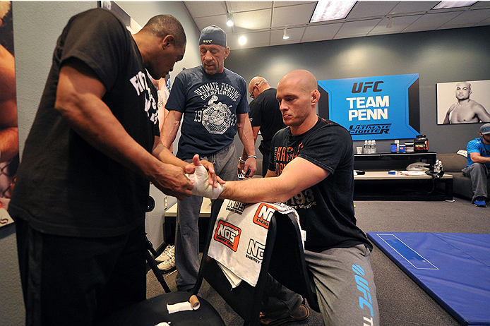 LAS VEGAS, NV - OCTOBER 29:  Team Penn fighter Daniel Spohn gets his hands wrapped before facing Team Edgar fighter Todd Monaghan in their preliminary fight during filming of season nineteen of The Ultimate Fighter on October 29, 2013 in Las Vegas, Nevada. (Photo by Jeff Bottari/Zuffa LLC/Zuffa LLC via Getty Images) *** Local Caption *** Daniel Spohn