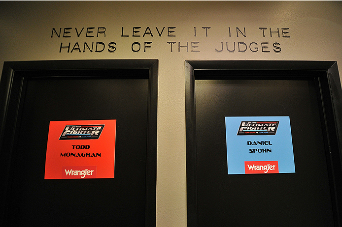 LAS VEGAS, NV - OCTOBER 29:  A general view of the locker room doors before Team Penn fighter Daniel Spohn faces Team Edgar fighter Todd Monaghan in their preliminary fight during filming of season nineteen of The Ultimate Fighter on October 29, 2013 in Las Vegas, Nevada. (Photo by Jeff Bottari/Zuffa LLC/Zuffa LLC via Getty Images) *** Local Caption ***
