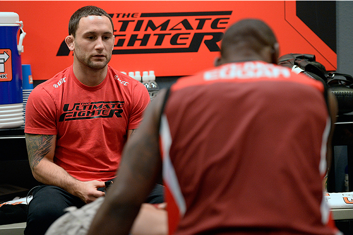 LAS VEGAS, NV - OCTOBER 29:  (L-R) Coach Frankie Edgar speaks with his fighter Todd Monaghan before he faces Team Penn fighter Daniel Spohn in their preliminary fight during filming of season nineteen of The Ultimate Fighter on October 29, 2013 in Las Vegas, Nevada. (Photo by Jeff Bottari/Zuffa LLC/Zuffa LLC via Getty Images) *** Local Caption *** Frankie Edgar; Todd Monaghan