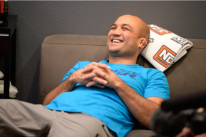 LAS VEGAS, NV - OCTOBER 29:  Coach BJ Penn sits in the locker room before his fighter Daniel Spohn faces Team Edgar fighter Todd Monaghan in their preliminary fight during filming of season nineteen of The Ultimate Fighter on October 29, 2013 in Las Vegas, Nevada. (Photo by Jeff Bottari/Zuffa LLC/Zuffa LLC via Getty Images) *** Local Caption *** BJ Penn