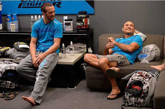 LAS VEGAS, NV - OCTOBER 29:  (L-R) Team Penn boxing coach Jason Parillo converses with Coach BJ Penn in the locker room before their fighter Daniel Spohn faces Team Edgar fighter Todd Monaghan in their preliminary fight during filming of season nineteen of The Ultimate Fighter on October 29, 2013 in Las Vegas, Nevada. (Photo by Jeff Bottari/Zuffa LLC/Zuffa LLC via Getty Images) *** Local Caption *** Jason Parillo; BJ Penn