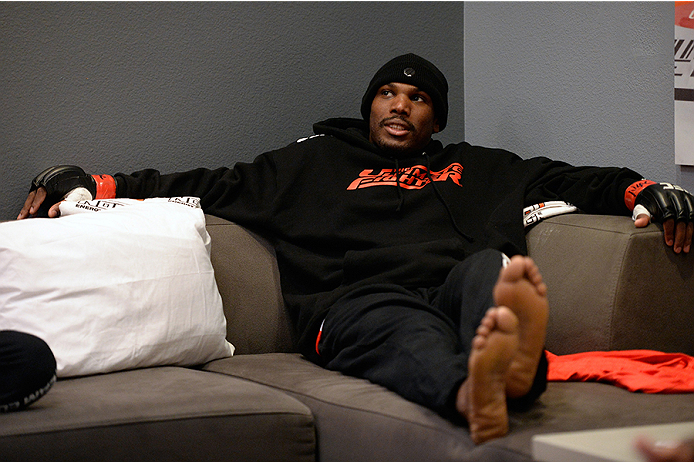 LAS VEGAS, NV - OCTOBER 29:  Team Edgar fighter Todd Monaghan rest after warming up before he faces Team Penn fighter Daniel Spohn in their preliminary fight during filming of season nineteen of The Ultimate Fighter on October 29, 2013 in Las Vegas, Nevada. (Photo by Jeff Bottari/Zuffa LLC/Zuffa LLC via Getty Images) *** Local Caption ***Todd Monaghan