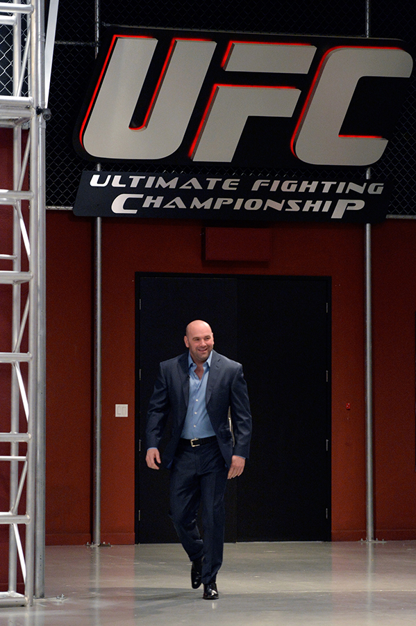 LAS VEGAS, NV - OCTOBER 29:  UFC President Dana White walks into the gym before Team Edgar fighter Todd Monaghan faces Team Penn fighter Daniel Spohn in their preliminary fight during filming of season nineteen of The Ultimate Fighter on October 29, 2013 in Las Vegas, Nevada. (Photo by Jeff Bottari/Zuffa LLC/Zuffa LLC via Getty Images) *** Local Caption ***Dana White