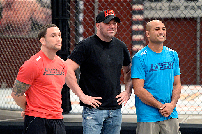 LAS VEGAS, NV - OCTOBER 29:  (L-R) Coach Frankie Edgar, UFC President Dana White and Coach BJ Penn discusses the choices for the next matchup during filming of season nineteen of The Ultimate Fighter on October 29, 2013 in Las Vegas, Nevada. (Photo by Jeff Bottari/Zuffa LLC/Zuffa LLC via Getty Images) *** Local Caption *** BJ Penn; Frankie Edgar; Dana White