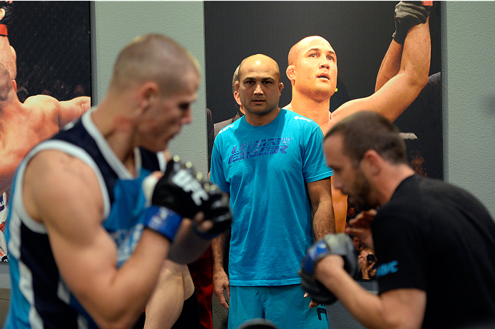LAS VEGAS, NV - NOVEMBER 1:  Coach BJ Penn coaches fighter Tim Williams as he warms up in the locker room before facing team Edgar fighter Dhiego Lima in their preliminary fight during filming of season nineteen of The Ultimate Fighter on November 1, 2013 in Las Vegas, Nevada. (Photo by Jeff Bottari/Zuffa LLC/Zuffa LLC via Getty Images) *** Local Caption *** BJ Penn; Tim Williams