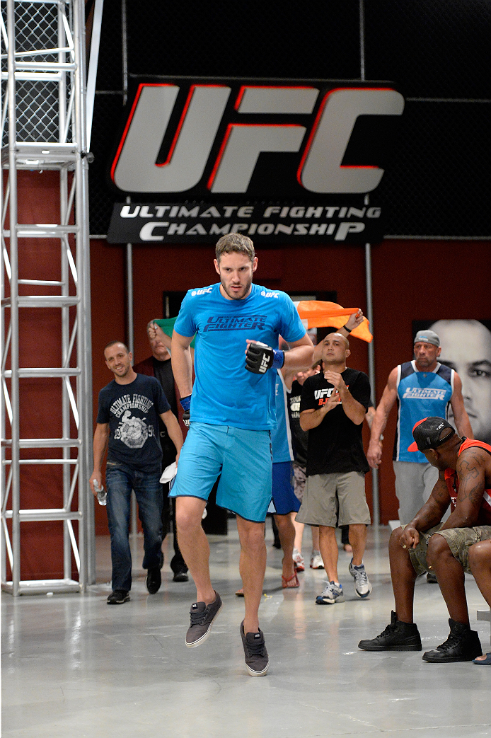 LAS VEGAS, NV - NOVEMBER 15: Team Penn fighter Chris Fields walks to the Octagon to fight team Edgar fighter Matt Van Buren in their preliminary fight during filming of season nineteen of The Ultimate Fighter on November 15, 2013 in Las Vegas, Nevada. (Photo by Jeff Bottari/Zuffa LLC/Zuffa LLC via Getty Images) *** Local Caption *** Chris Fields