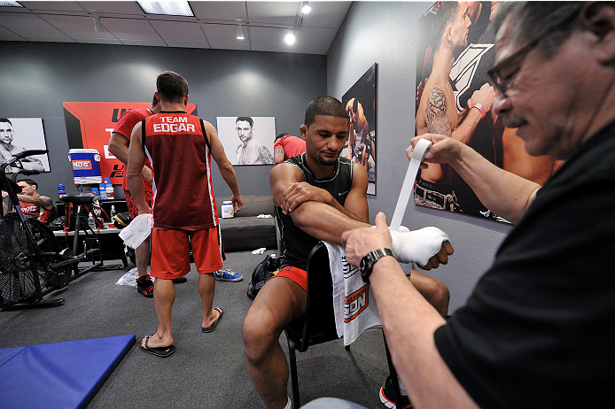 LAS VEGAS, NV - NOVEMBER 21:  Team Edgar fighter Dhiego Lima gets his hands wrapped before facing team Penn fighter Roger Zapata in their semi-final fight during filming of season nineteen of The Ultimate Fighter on November 21, 2013 in Las Vegas, Nevada. (Photo by Jeff Bottari/Zuffa LLC/Zuffa LLC via Getty Images) *** Local Caption *** Dhiego Lima