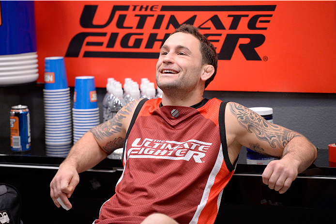 LAS VEGAS, NV - NOVEMBER 22:  Head Coach Frankie Edgar watches team Edgar fighter Matt Van Buren warm up before his bout against team Penn fighter Daniel Spohn in their semi-final fight during filming of season nineteen of The Ultimate Fighter on November 22, 2013 in Las Vegas, Nevada. (Photo by Jeff Bottari/Zuffa LLC/Zuffa LLC via Getty Images) *** Local Caption *** Frankie Edgar