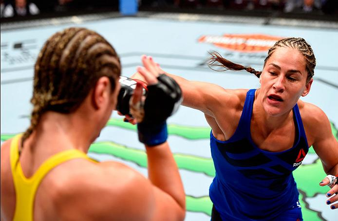 CLEVELAND, OH - SEPTEMBER 10:  (R-L) Jessica Eye punches Bethe Correia of Brazil in their women's bantamweight bout during the UFC 203 event at Quicken Loans Arena on September 10, 2016 in Cleveland, Ohio. (Photo by Josh Hedges/Zuffa LLC/Zuffa LLC via Getty Images)
