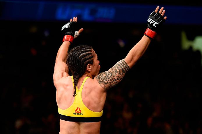 CLEVELAND, OH - SEPTEMBER 10:  Jessica Andrade of Brazil celebrates after defeating Joanne Calderwood of Scotland in their strawweight bout during the UFC 203 event at Quicken Loans Arena on September 10, 2016 in Cleveland, Ohio. (Photo by Josh Hedges/Zuffa LLC/Zuffa LLC via Getty Images)