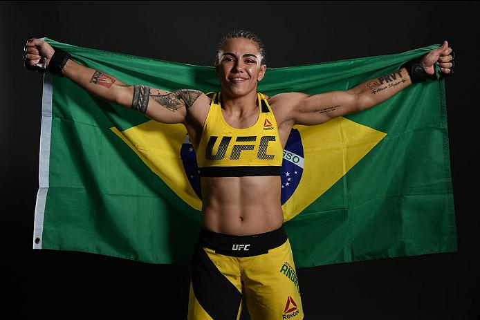CLEVELAND, OH - SEPTEMBER 10:  Jessica Andrade of Brazil poses for a post fight portrait backstage during the UFC 203 event at Quicken Loans Arena on September 10, 2016 in Cleveland, Ohio. (Photo by Mike Roach/Zuffa LLC/Zuffa LLC via Getty Images)