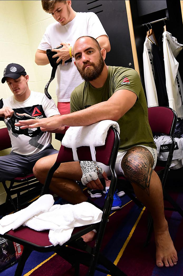 CLEVELAND, OH - SEPTEMBER 10:  Travis Browne gets his hands wrapped backstage during the UFC 203 event at Quicken Loans Arena on September 10, 2016 in Cleveland, Ohio. (Photo by Mike Roach/Zuffa LLC/Zuffa LLC via Getty Images)