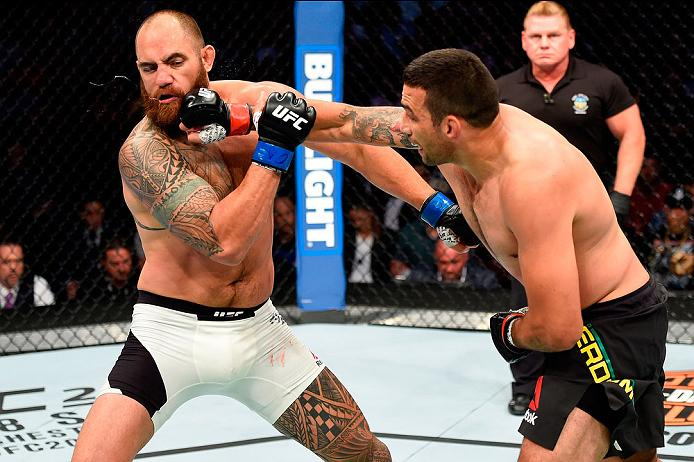 CLEVELAND, OH - SEPTEMBER 10:  (R-L) Fabricio Werdum of Brazil punches Travis Browne in their heavyweight bout during the UFC 203 event at Quicken Loans Arena on September 10, 2016 in Cleveland, Ohio. (Photo by Josh Hedges/Zuffa LLC/Zuffa LLC via Getty Images)