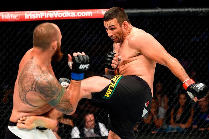 CLEVELAND, OH - SEPTEMBER 10:  (R-L) Fabricio Werdum of Brazil kicks Travis Browne in their heavyweight bout during the UFC 203 event at Quicken Loans Arena on September 10, 2016 in Cleveland, Ohio. (Photo by Josh Hedges/Zuffa LLC/Zuffa LLC via Getty Images)