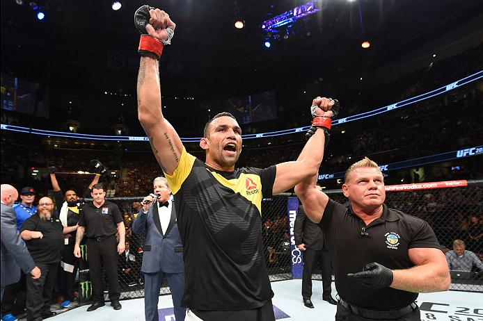 CLEVELAND, OH - SEPTEMBER 10:  Fabricio Werdum of Brazil celebrates after defeating Travis Browne in their heavyweight bout during the UFC 203 event at Quicken Loans Arena on September 10, 2016 in Cleveland, Ohio. (Photo by Josh Hedges/Zuffa LLC/Zuffa LLC via Getty Images)