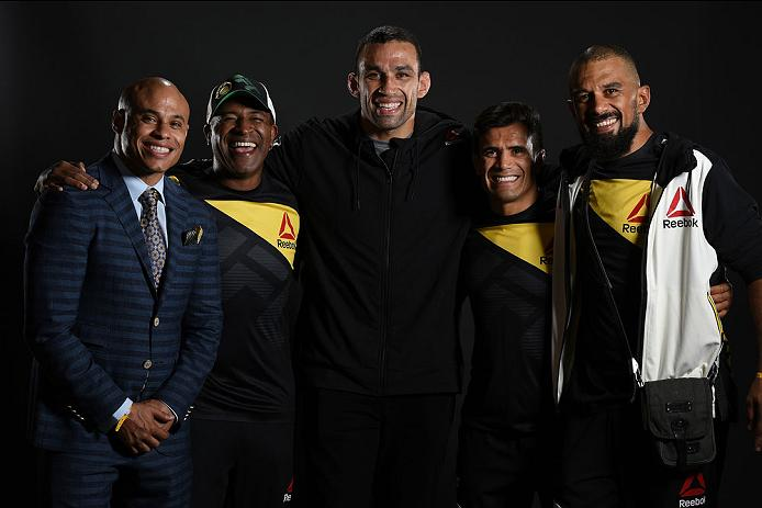 CLEVELAND, OH - SEPTEMBER 10:  Fabricio Werdum of Brazil (C) poses with his teammates for a post fight portrait backstage during the UFC 203 event at Quicken Loans Arena on September 10, 2016 in Cleveland, Ohio. (Photo by Mike Roach/Zuffa LLC/Zuffa LLC via Getty Images)