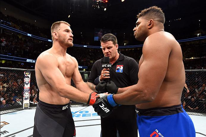 CLEVELAND, OH - SEPTEMBER 10:  (L-R) Stipe Miocic and Alistair Overeem of The Netherlands touch gloves prior to facing eachother in their UFC heavyweight championship bout during the UFC 203 event at Quicken Loans Arena on September 10, 2016 in Cleveland, Ohio. (Photo by Josh Hedges/Zuffa LLC/Zuffa LLC via Getty Images)