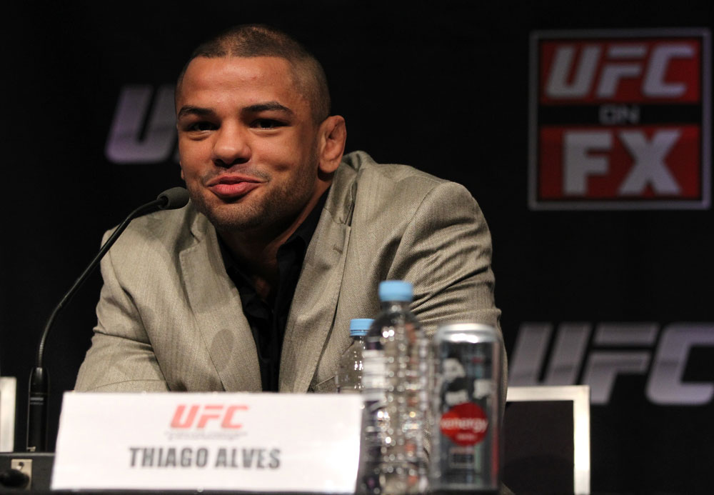 SYDNEY, AUSTRALIA - MARCH 01:  Thiago Alves attends the UFC on FX press conference at the Star Casino on March 1, 2012 in Sydney, Australia.  (Photo by Josh Hedges/Zuffa LLC/Zuffa LLC via Getty Images) *** Local Caption *** Thiago Alves