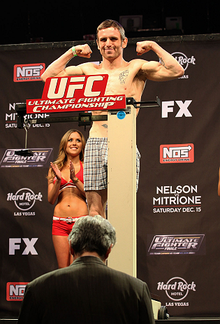 LAS VEGAS, NV - DECEMBER 14:  Timothy Elliott weighs in during TUF 16 Finale weigh in on December 14, 2012  at the Joint at the Hard Rock in Las Vegas, Nevada.  (Photo by Jim Kemper/Zuffa LLC/Zuffa LLC via Getty Images)