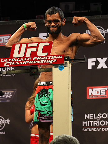 LAS VEGAS, NV - DECEMBER 14:  Hugo Viana weighs in during TUF 16 Finale weigh in on December 14, 2012  at the Joint at the Hard Rock in Las Vegas, Nevada.  (Photo by Jim Kemper/Zuffa LLC/Zuffa LLC via Getty Images)
