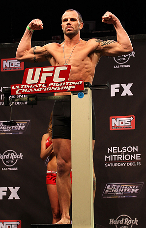 LAS VEGAS, NV - DECEMBER 14:  Nick Catone steps onto the scale during TUF 16 Finale weigh in on December 14, 2012  at the Joint at the Hard Rock in Las Vegas, Nevada.  (Photo by Jim Kemper/Zuffa LLC/Zuffa LLC via Getty Images)