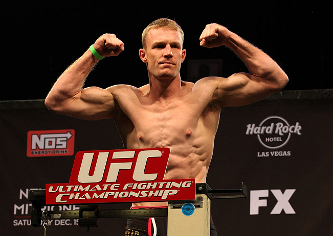 LAS VEGAS, NV - DECEMBER 14:  James Head stands on the scale during TUF 16 Finale weigh in on December 14, 2012  at the Joint at the Hard Rock in Las Vegas, Nevada.  (Photo by Jim Kemper/Zuffa LLC/Zuffa LLC via Getty Images)