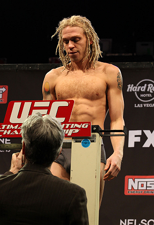 LAS VEGAS, NV - DECEMBER 14:  Jonathan Brookins weighs in during TUF 16 Finale weigh in on December 14, 2012  at the Joint at the Hard Rock in Las Vegas, Nevada.  (Photo by Jim Kemper/Zuffa LLC/Zuffa LLC via Getty Images)
