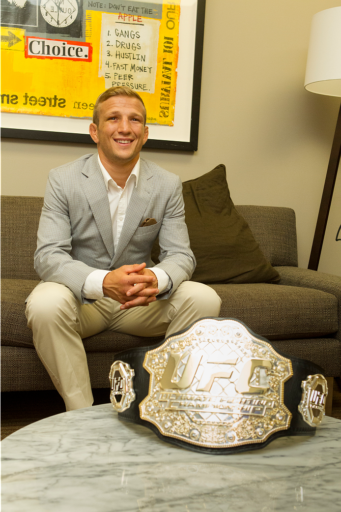 SACRAMENTO, CA - MAY 29:  UFC Star TJ Dillashaw waits to meet with Sacramento Mayor Kevin Johnson at City Hall on May 29, 2014 in Sacramento, California.  (Photo by Alexis Cuarezma/Zuffa LLC/Getty Images)