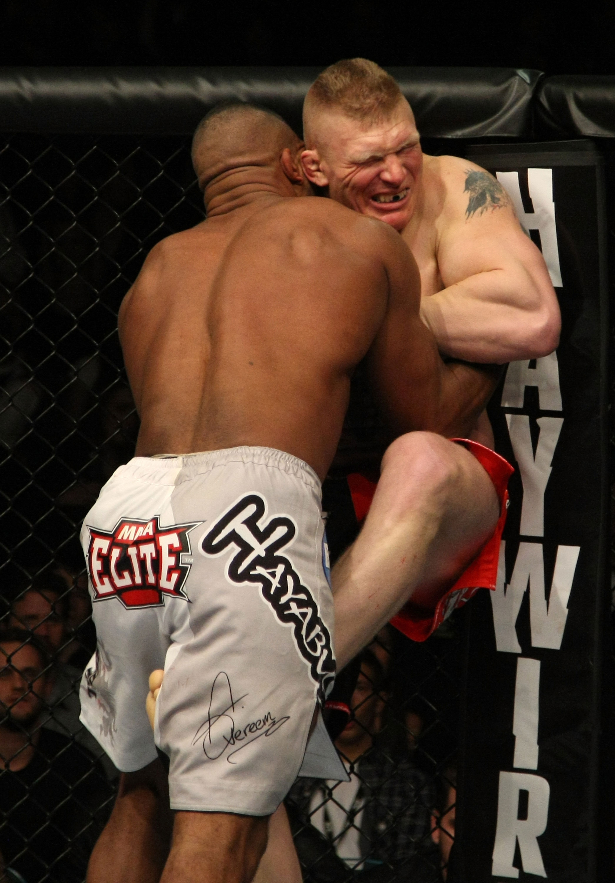 LAS VEGAS, NV - DECEMBER 30:  Alistair Overeem (white shorts) and Brock Lesnar (red shorts) struggle against the Octagon fence during the UFC 141 event at the MGM Grand Garden Arena on December 30, 2011 in Las Vegas, Nevada.  (Photo by Donald Miralle/Zuffa LLC/Zuffa LLC via Getty Images) *** Local Caption *** Alistair Overeem; Brock Lesnar