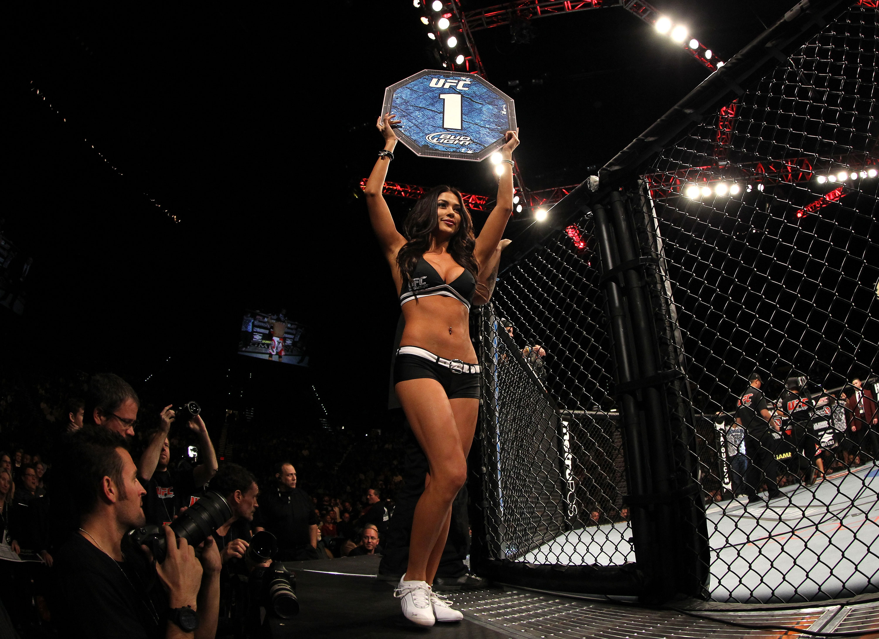LAS VEGAS, NV - DECEMBER 30:  Arianny Celeste introduces round one during the UFC 141 event at the MGM Grand Garden Arena on December 30, 2011 in Las Vegas, Nevada.  (Photo by Josh Hedges/Zuffa LLC/Zuffa LLC via Getty Images) *** Local Caption *** Arianny Celeste