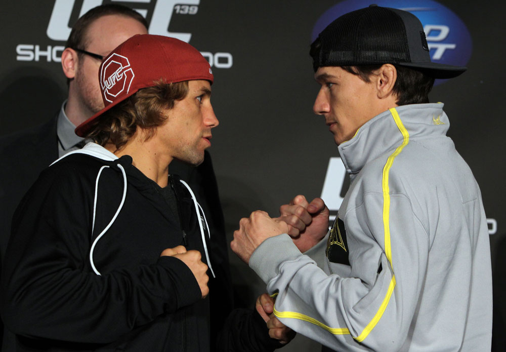 SAN FRANCISCO, CA - NOVEMBER 17:  (L-R) Bantamweight opponents Urijah Faber and Brian Bowles face off at the UFC 139 pre-fight press conference at the Fort Mason Center on November 17, 2011 in San Francisco, California.  (Photo by Josh Hedges/Zuffa LLC/Zuffa LLC via Getty Images)