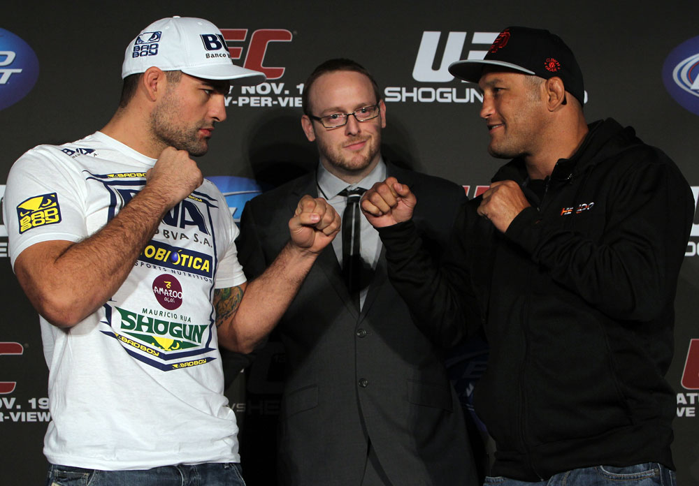 "SAN FRANCISCO, CA - NOVEMBER 17:  (L-R) Light Heavyweight opponents Mauricio ""Shogun"" Rua and Dan Henderson face off at the UFC 139 pre-fight press conference at the Fort Mason Center on November 17, 2011 in San Francisco, California.  (Photo by Josh Hedges/Zuffa LLC/Zuffa LLC via Getty Images)"