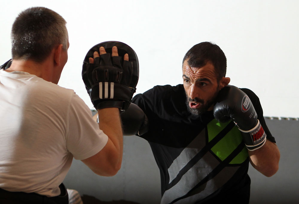 STOCKHOLM, SWEDEN - APRIL 11:  Reza Madadi works out for the media during the UFC open workouts at Pancrase Gym on April 11, 2012 in Stockholm, Sweden.  (Photo by Josh Hedges/Zuffa LLC/Zuffa LLC via Getty Images)