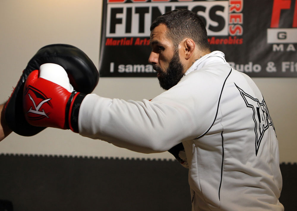 STOCKHOLM, SWEDEN - APRIL 11:  Alessio Sakara works out for the media during the UFC open workouts at Pancrase Gym on April 11, 2012 in Stockholm, Sweden.  (Photo by Josh Hedges/Zuffa LLC/Zuffa LLC via Getty Images)
