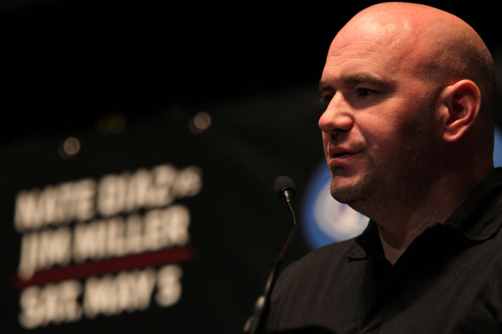 NEW YORK, NY - MAY 03:  UFC President Dana White attends the UFC on FOX pre-fight press conference at Beacon Theatre on May 3, 2012 in New York City.  (Photo by Josh Hedges/Zuffa LLC/Zuffa LLC via Getty Images)