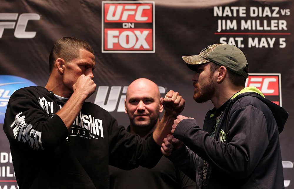 NEW YORK, NY - MAY 03:  (L-R) Main event opponents Nate Diaz and Jim Miller face off during the UFC on FOX pre-fight press conference at Beacon Theatre on May 3, 2012 in New York City.  (Photo by Josh Hedges/Zuffa LLC/Zuffa LLC via Getty Images)